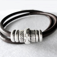 Men's Double Wrap leather bracelet, magnetic silver zamak clasp, gift for him