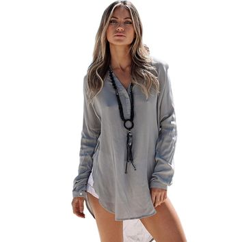 Casual Plunging Neck Long Sleeve Asymmetric Loose Blouse