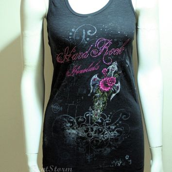 Licensed cool Hard Rock Cafe Honolulu Hawaii Tank Top Blouse Tee Shirt Guitar Black Pink Beads