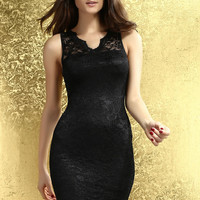 Sleeveless Black Dress with Scallop Lace Background