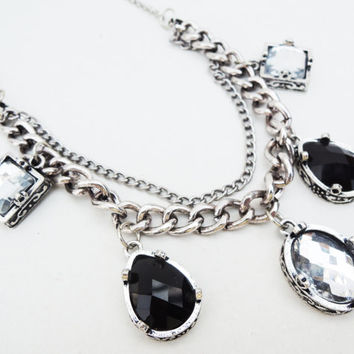 Chunky Black and Silver Statement Necklace Handmade by Lindsey - Antiqued Silver Black and Silver Rhinestone Jewels - Antiqued Silver Chain