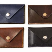 Leather minimalistic card holder (handmade envelope slim holder from full grain vegetable tanned leather)