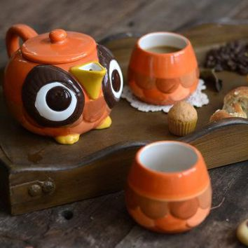 Hand Painted Cute Owl Series Ceramic Coffeware Sets Teapot Cup Set