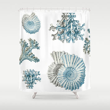 Coral and Shell Shower Curtain - Ocean Shower curtain gray Teal Aqua blue, ocean, shells coastal sea, art,  decor, bath, home