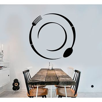 Vinyl Wall Decal Cutlery Spoon And Fork Kitchen Decor Stickers (3342ig)