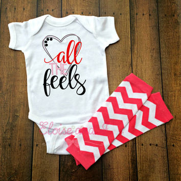 baby girl valentines outfit, valentine shirts, valentines day shirt, valentine baby shower gift, all the feels, toddler girl outfits, gifts