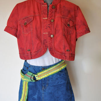 "Red Denim JACKET - Scarlet Red Hand Dyed Upcycled Cropped Rocker Tribal Jeans Denim Jacket - Womens Size 12 Medium Large (44"" chest)"