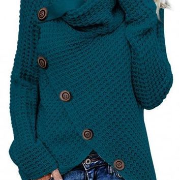 Slate Blue Buttoned Wrap Turtleneck Sweater