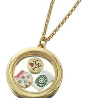 Antique Gold Tone Floating Charm Locket with Chain