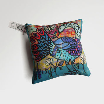 Decorative silk cushion with peacock illustration / little comfort pillow