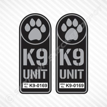 K9 Unit Badge Sticker Set Vinyl Decal Gun Metal Dog Paw Police Law Enforcement