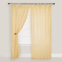 Yellow Crinkle Voile Cotton Curtain - World Market