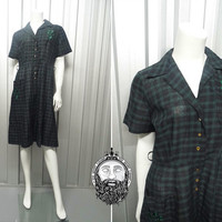 Vintage 50s Plaid Dress Shirtdress Shirtwaist Tartan Dress Patch Pockets A Line Dress 1950s Day Dress Short Sleeve Carol Brent Cotton Dress