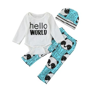2017 Newborn Baby Girls Printed Hello World Letter Top Romper +Long Pants +Hat Outfits Baby Boys Clothes Sets 3-18 Months