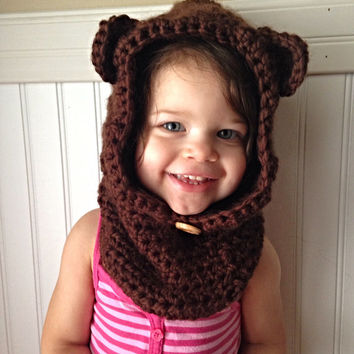 Crochet Hooded Cowl, Bear Cowl, Cowl with Ears, Adult Cowl with Ears, Children's Cowl with Ears