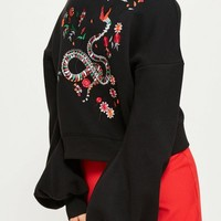 Missguided - Black Embroidered Back Blouson Sleeve Hoodie