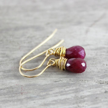 Gold Ruby Earrings, Ruby Gemstone Earrings, Gold Fill Earrings, Deep Red Earrings, Ruby Red Earrings, Genuine Ruby, Wire Wrap Earrings