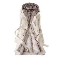 Sefon Winter Warm Thicken Fleece Faux Fur Coat Trench Coat Hooded Xmas Coat Womens