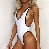 shosouvenir:Hollow Out Backless Strappy One Piece Swimsuit Swimwear