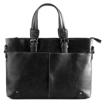 Stylish Men's Briefcase With Solid Colour and Buckles Design   Black