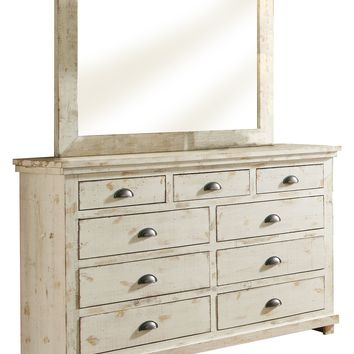 Willow Casual Drawer Dresser And Mirror Distressed White