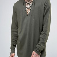 ASOS Longline Long Sleeve T-Shirt With Lace-Up Neck at asos.com