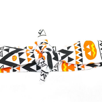 Aztec Pumpkin Halloween Knotted Headband Wrap