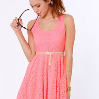 Lost Moxie Neon Pink Lace Dress