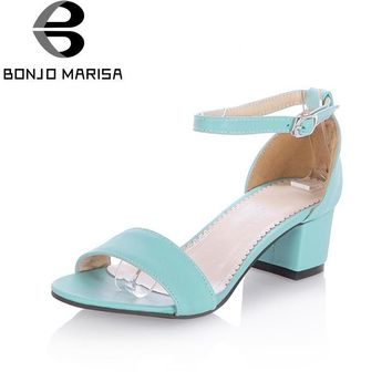 BONJOMARISA Chunky Heel Women Sandals Ankle Strap Open Toe Flock Summer Shoes Woman Pl