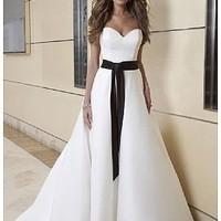 [$156.99 ] Elegant Satin A-line Strapless Sweetheart Neckline 2 In 1 Wedding Dress - Edressbridal.com
