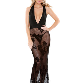 Janet Stretch Micro And Lace Gown