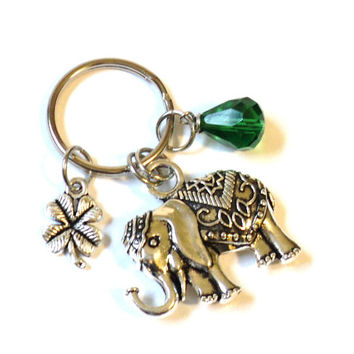 Sacred Elephant Keychain Bag Charm Good Green Luck Clover Yoga Accessories Fun Indie Party Favors Stocking Stuffer Christmas