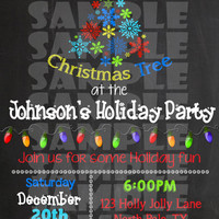 HOLIDAY PARTY INVITATION - Christmas Party Invite - Rockin' Around The Christmas Tree - Christmas Party Chalkboard Winter Christmas Lights