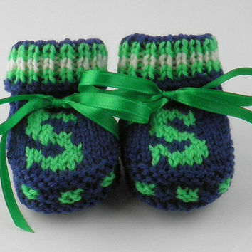 Knit Baby Booties Seattle Seahawks Baby Boy Shower Gift Handknit Newborn Baby Shoes NFL Design