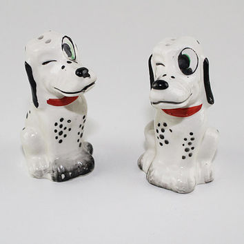 Vintage Pair of Dalmation Dogs Salt and Pepper Set, Made in Japan