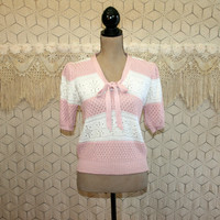 Spring Sweater Knit Top Short Sleeve Sweater Small Pastel Pointelle Pink & White Stripe Preppy Puff Sleeve Bow Tie Womens Vintage Clothing
