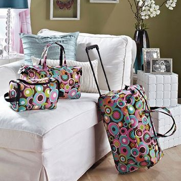 3 Piece Luggage Set - Circles (Rolling Duffel Bag, Tote & Toiletry Bag)