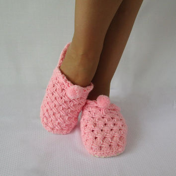 Bedroom Slippers. Pink Slippers House slippers CUTE SLIPPERS  Elegant Slippers Hand Knit Booties Handmade Knitted Сozy Slippers