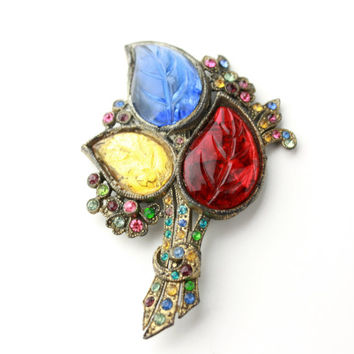 Antique Glass Leaf and Rhinestone Brooch - Fruit Salad / b12