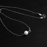 Single pearl pendant, sterling silver pearl choker necklace, fresh water pearl simple necklace, bridesmaid gifts