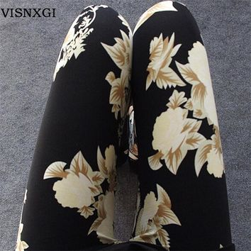 New Rose Flower Printed Leggings Fashion Sexy Women Lady Slim High Elastic Cotton Pant
