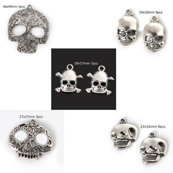New Arrival Antique Silver Vintage Skeleton Skull Head Charms Pendant for DIY Fashion Choker Charm Necklace Bracelet Jewelry