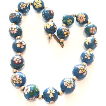 Blue Bead Necklace, Pink, Yellow, Green, Flowers, Made in Germany, Vintage Jewelry