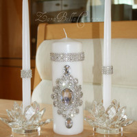 Crystal Pillar candle tapered candles unity by ZaraBellaCouture