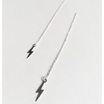Sterling Silver Lightning Bolt Threader Earrings