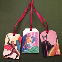 Sleeping Beauty recycled book wooden gift tag/ornament chalkboard set