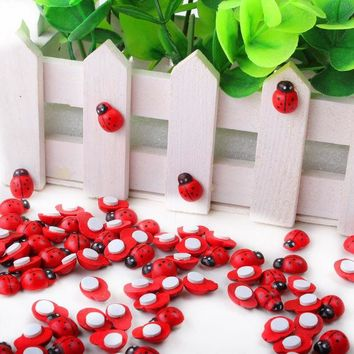 VONC1Y 1pack Red Mini Wooden Ladybug Sponge Self-adhesive Stickers Cute Baby Fridge Magnets for Scrapbooking XP0226