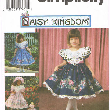 Simplicity 9976 - 1990s Sewing Pattern - Daisy Kingdom - Child's Dress, Hat And Purse