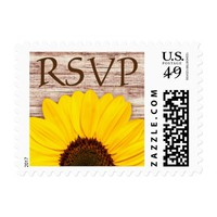 RSVP yellow sunflower on rustic barn wood Postage