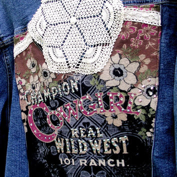 OOAK Romantic Shabby Chic Cowgirl Lace Denim Jean Jacket Upcycled Country 2X 18/20 Boho Chic